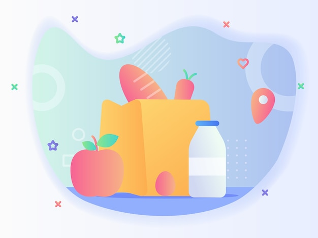 La drogheria ha bisogno quotidianamente della carota del pane di concetto nel sacchetto di carta vicino latte della bottiglia dell'uovo della frutta della mela con il disegno di vettore di stile piano