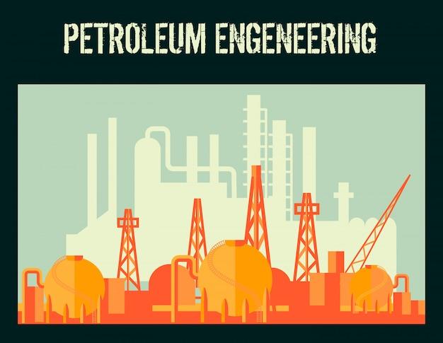 La fabbrica del petrolio di industria petrolifera con le costruzioni industriali vector l'illustrazione