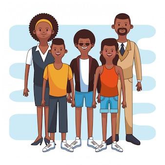 La famiglia afro sveglia con i figli e la daugther vector la progettazione grafica dell'illustrazione