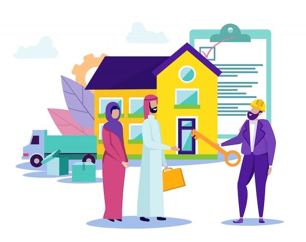 La famiglia araba si trasferisce nella nuova casa. progetto di credito.