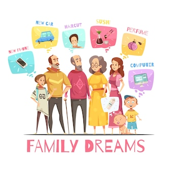 La famiglia che sogna il concetto di progetto con le icone di grandi membri della famiglia e le loro immagini decorative piangono l'illustrazione piana di vettore del fumetto
