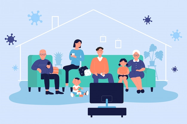 La famiglia completa trascorre del tempo insieme a casa a guardare la tv