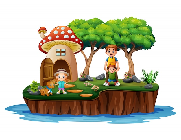 La famiglia di fronte alla scena della casa dei funghi