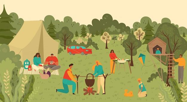 La famiglia e la gente nel parco all'aperto fanno un picnic, madre, padre, bambini con alimento e giocano sull'erba della campagna nell'illustrazione del fumetto della natura dell'estate.