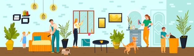 La famiglia fa insieme le pulizie di primavera a casa, illustrazione. lavori domestici con bambini e genitori, disinfezione della casa di quarantena.