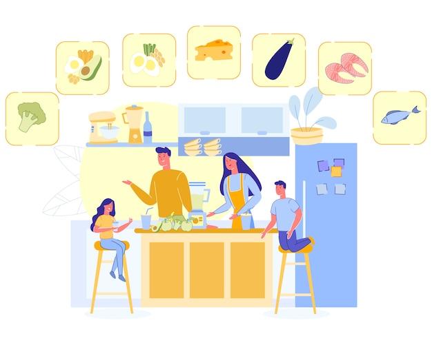 La famiglia felice cucinano la nutrizione sana, bambini dei genitori