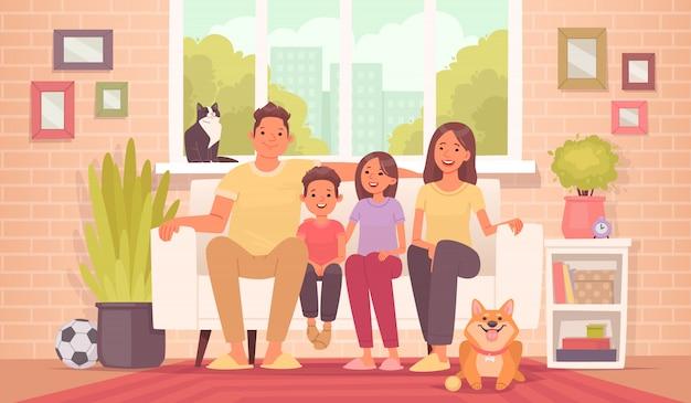 La famiglia felice è seduta sul divano. mamma, papà, figlia, figlio e animali domestici a casa, sullo sfondo della stanza