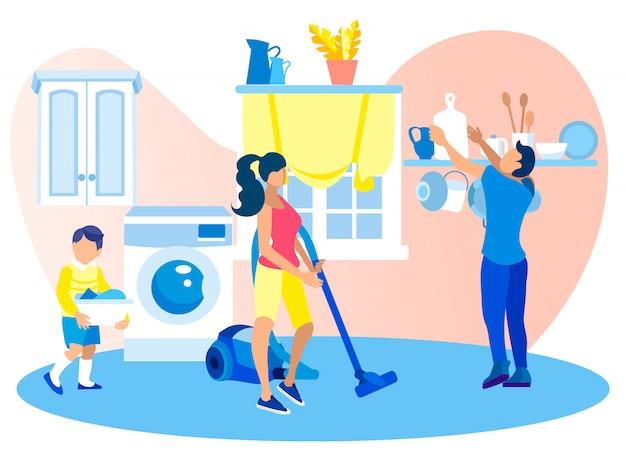 La famiglia felice pulisce la casa durante il fine settimana solitamente di routine