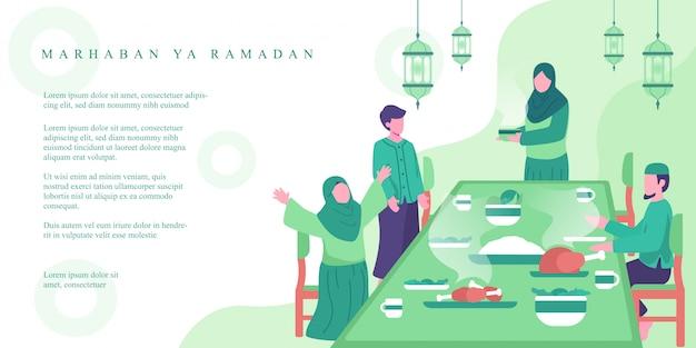 La famiglia musulmana mangia insieme all'illustrazione iftar di concetto di tempo. attività familiari in ramadan. illustrazione di concetto della bandiera di ramadan