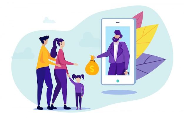 La famiglia ottiene prestito utilizzando l'applicazione mobile. in linea.