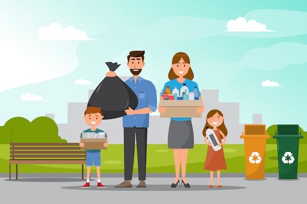 La famiglia pulisce e raccoglie la spazzatura al parco.