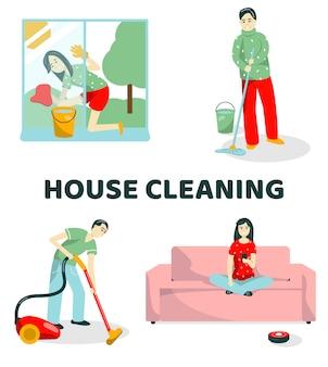 La famiglia pulisce l'illustrazione dell'insieme dell'appartamento