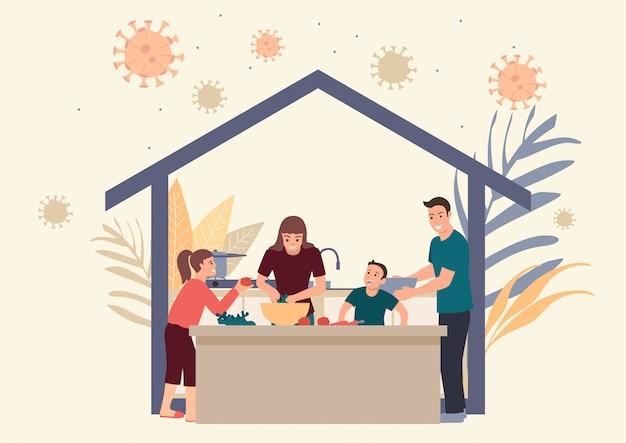 La famiglia resta a casa facendo attività quotidiane insieme