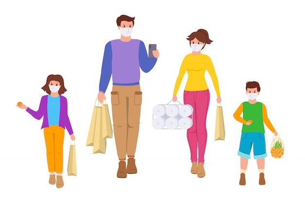 La famiglia va a fare shopping periodo di coronavirus di isolamento. sacchetti della spesa. persone di gruppo, maschera medica per bambini in stile cartone animato