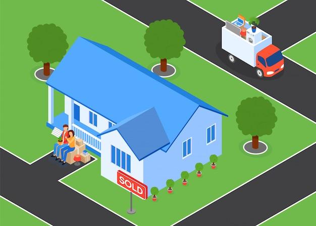 La famiglia vende l'illustrazione di vettore della casa e delle foglie.