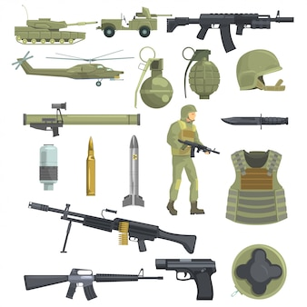 La fanteria professionale dell'esercito forza le armi, il trasporto e l'equipaggiamento del soldato insieme degli oggetti realistici nel colore cachi