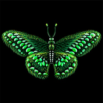 La farfalla logo vettoriale per tatuaggio o t-shirt o capispalla. sfondo di farfalla stile stampa carino. questo disegno è per tessuto nero o tela.