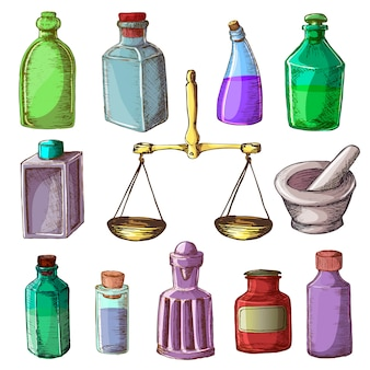 La farmacia imbottiglia il vecchio contenitore di vetro medico d'annata della droga con l'insieme chimico chimico di chimica farmaceutica dell'illustrazione delle scale e della medicina isolato su fondo bianco