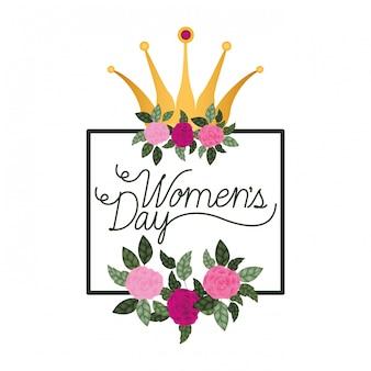 La festa della donna con l'icona isolata struttura delle rose