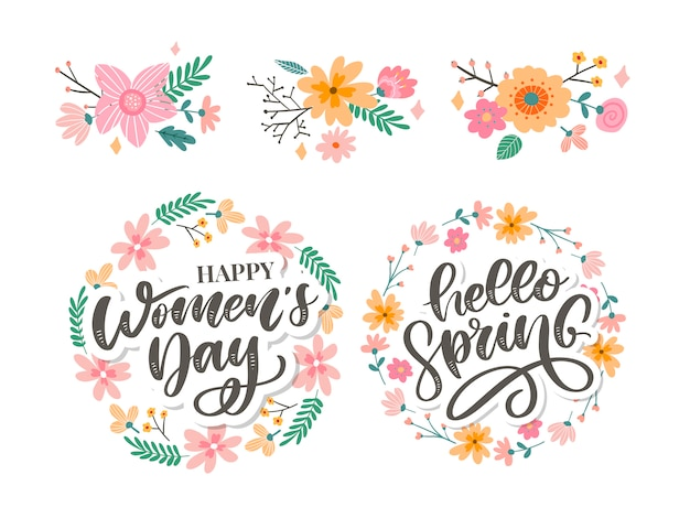 La festa della donna e ciao primavera progettano il testo con i fiori