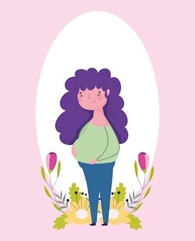 La festa della mamma felice, donna incinta fiorisce il fumetto