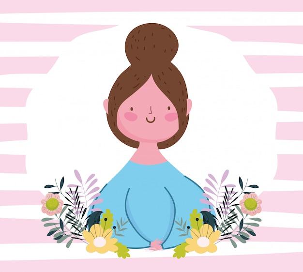 La festa della mamma felice, personaggio dei cartoni animati della donna fiorisce il fondo a strisce della natura