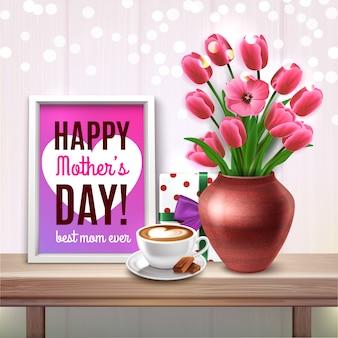 La festa della mamma ha colorato la composizione con il mazzo della tazza di caffè del regalo dei tulipani e dell'illustrazione di complimenti della migliore mamma mai