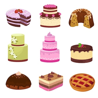 La festa di buon compleanno agglutina con le decorazioni isolate su bianco. insieme di vettore di dolci dolci del fumetto