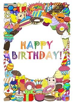 La festa di compleanno delle cartoline d'auguri con i dolci scarabocchia il fondo.