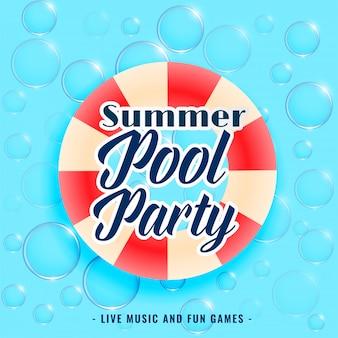 La festa in piscina estiva bolle di fondo