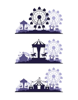 La fiera del festival del circo fissa scenari di colori blu e bianchi