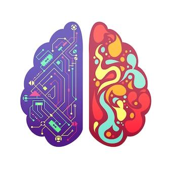 La figura variopinta simbolica pittorica dei emisferi cerebrali di sinistra e di destra del cervello umano con il diagramma di flusso e le zone di attività vector l'illustrazione
