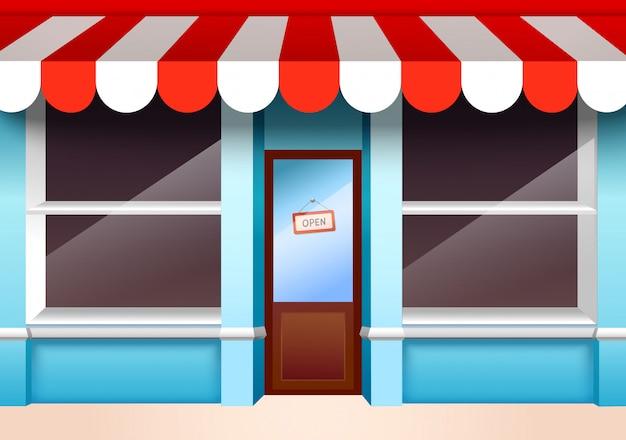 La finestra anteriore del negozio di negozio con gli scaffali vuoti vector l'illustrazione