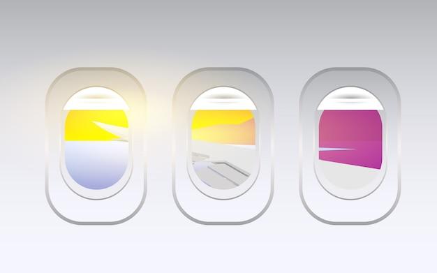 La finestra dell'aereo dentro la cabina dell'aereo