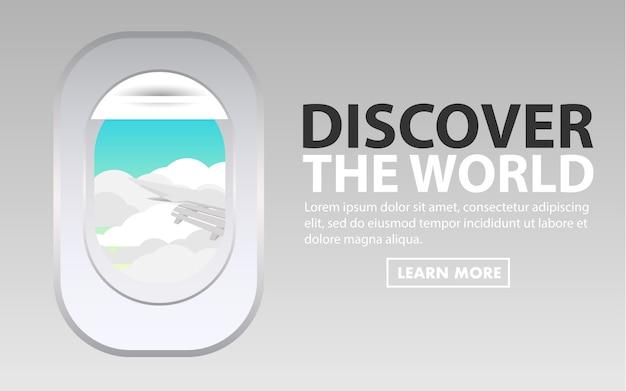 La finestra dell'aeroplano dall'interno dell'ala dell'aereo di cabina all'esterno