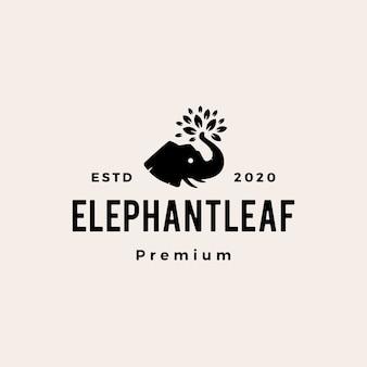 La foglia dell'elefante lascia l'illustrazione d'annata dell'icona di logo dei pantaloni a vita bassa dell'albero
