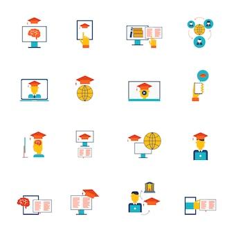 La formazione online di e-learning di formazione di distanza e l'insieme piano delle icone di graduazione hanno isolato l'illustrazione di vettore
