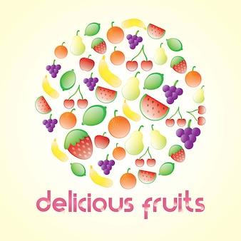 La frutta deliziosa lucida ha impostato su priorità bassa beige
