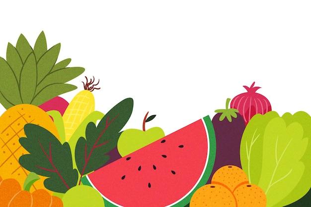 La frutta e le verdure copiano il fondo dello spazio