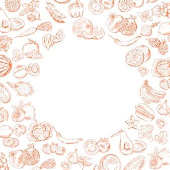 La frutta e le verdure disegnate a mano di scarabocchio di vettore hanno messo con posto vuoto rotondo per la vostra illustrazione del testo
