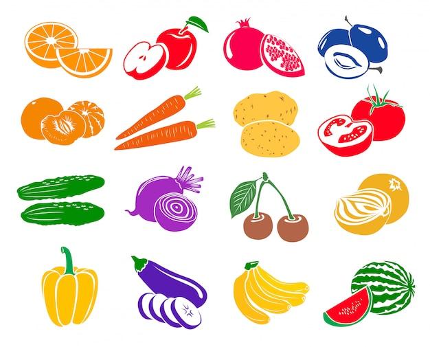 La frutta e le verdure hanno messo le icone nello stile semplice isolate su bianco