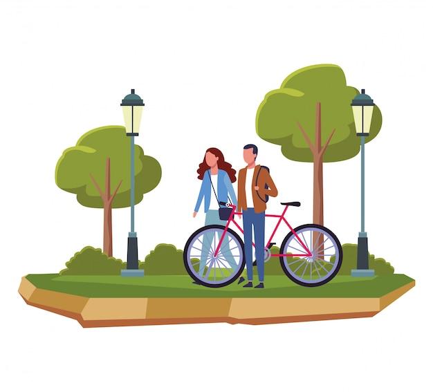 La gente ai cartoni del parco