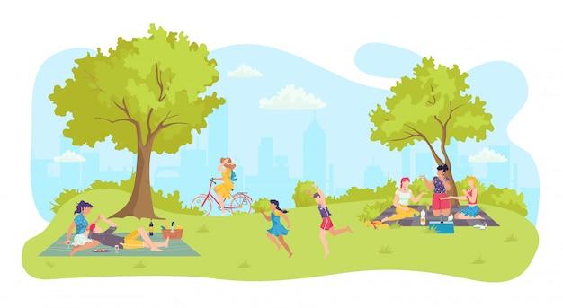 La gente al picnic del fumetto, illustrazione felice di svago del parco. paesaggio della natura di estate e stile di vita familiare alla città all'aperto. attività uomo donna vicino albero, fine settimana personaggio di gruppo.