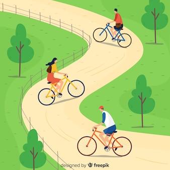 La gente andare in bicicletta nel parco
