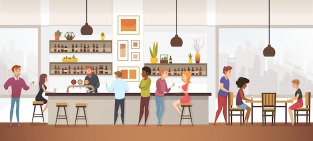 La gente beve caffè nel bar di vettore degli interni