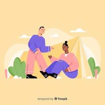 La gente campeggia stile disegnato a mano