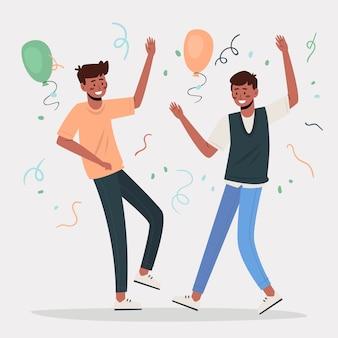 La gente celebra insieme il concetto