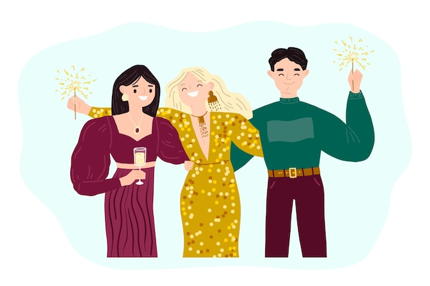 La gente celebra insieme illustrazione