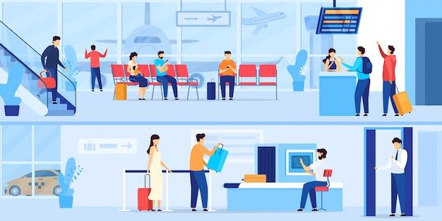 La gente che aspetta nell'aeroporto, controllo di sicurezza e registrazione per il volo, illustrazione
