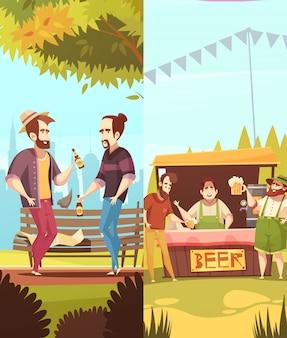 La gente che beve banner verticali di birra